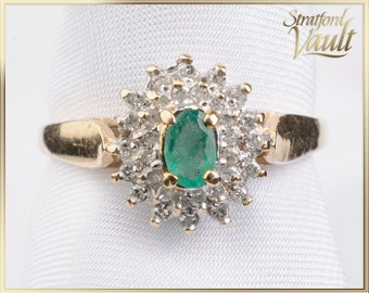 Vintage ~ Emerald and Diamond Ring ~ 10K Yellow & White Gold ~ 5.0 x 3.0 mm Faceted Emerald ~ Single Cut Diamonds ~ STR17154 ~ GIA ~ 1500.00