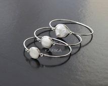 3   PEARLS BEZEL BRACELETS silver plated charm cuff thin open bangle simple fashion bulk wholesale BLZ2
