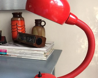 Mid Century Jetage red metal gooseneck desk/bedhead lamp