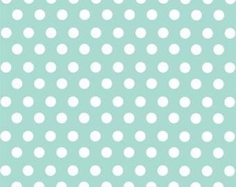 Mint with white polka dot pattern craft  vinyl sheet - HTV or Adhesive Vinyl -  medium polka dots HTV1605