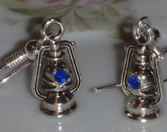 Lantern Earrings with Blue Gems
