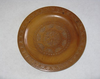 Hand carved wood decorative plate tray vintage