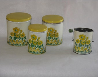 Vintage 3 piece canister set matching sifter yellow flowers metal national can corp New York mid century modern daisies