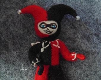 Harley Quinn Miniature Art Doll Fan Art Jester Clown Red and Black DC Comics Cosplay Art