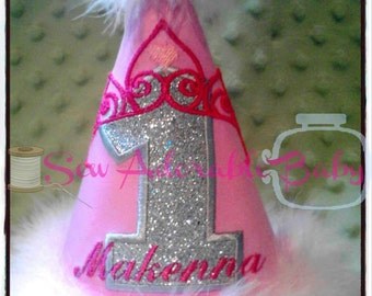 Princess Crown Birthday Party Hat with Name