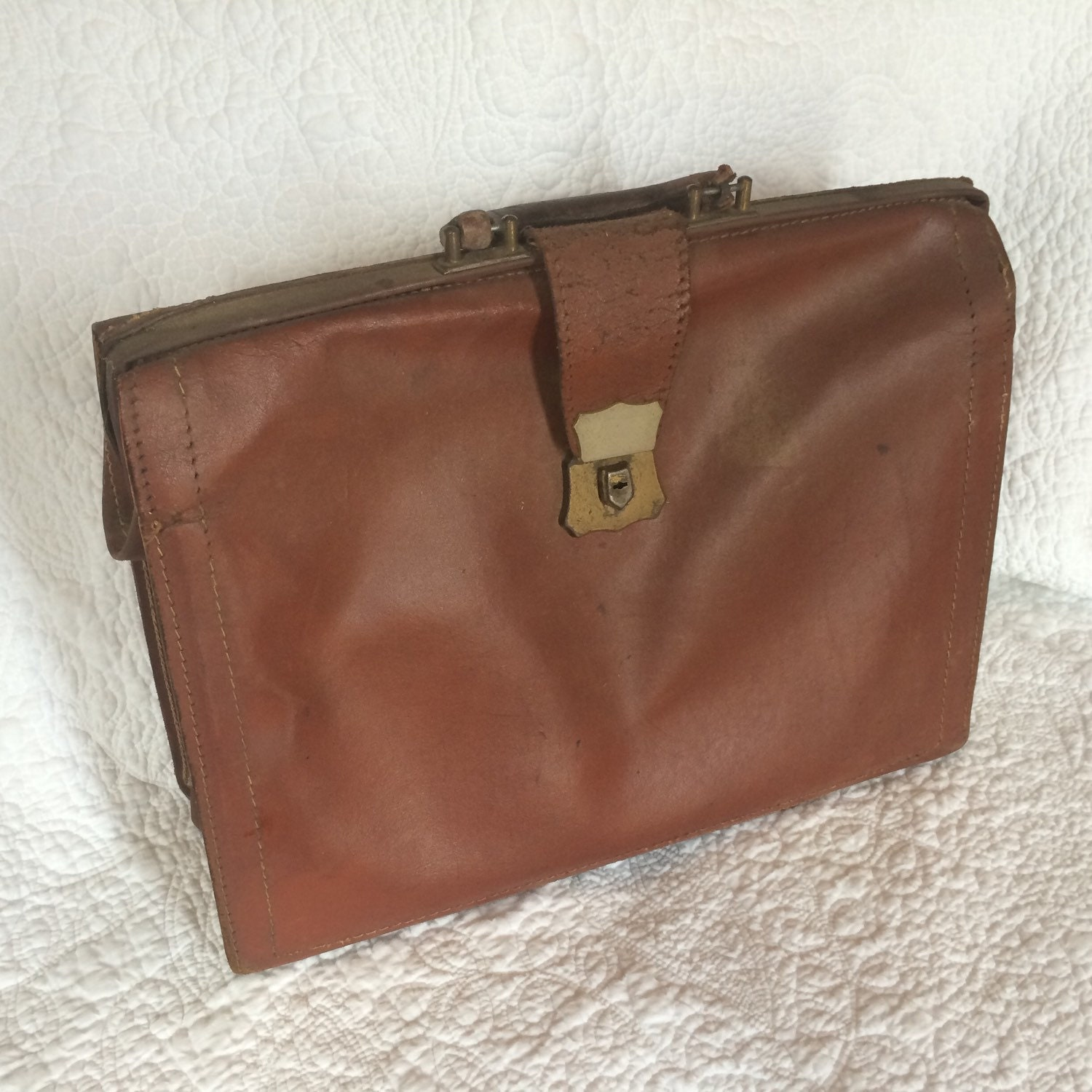 United Check Bag Fee Vintage Leather Satchel Briefcase Cognac Caramel Brown