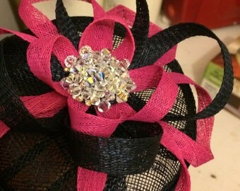 Handmade Sinamay Button Fascinator with Loops, Netting and Swarovski Crystals