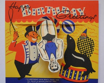 Vintage Circus Birthday Card Strong Man