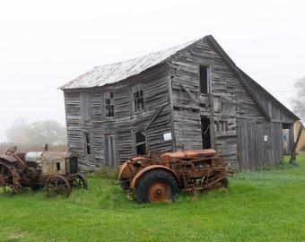 Fog Barn in Iowa Photograph