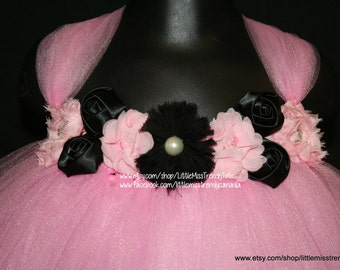 Pink Tutu Dress with Pink & Black Flowers, Pink Flower Girl Tutu Dress, Pink Tutu Dress, Pink Tutu Birthday Dress