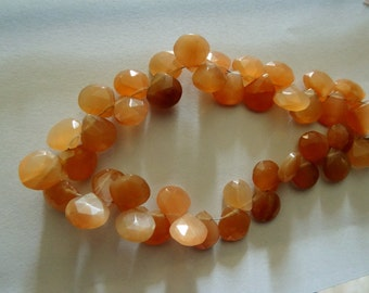 9-11 mm Natural Peach Moonstone Briolette Faceted Hearts 8X1/2 inch Strands-19 PCS-AAA+