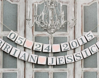 BRIDAL SHOWER BANNERS, Save the date, Customized Name signs, Rustic