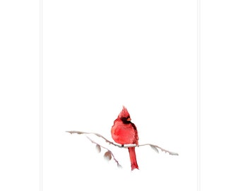 Tea Towel, Kitchen Towel, Watercolor Tea Towel, Watercolor Kitchen Towel, Designer Tea Towel, Unique Tea Towel, Red Cardinal Tea Towel