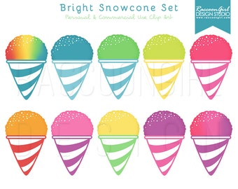 50% OFF Bright Snowcone Clip Art Set - Personal & Commercial Use