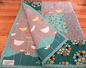 Baby quilt, gender neutral, gray, turquoise, reversible, handmade, modern, nursery bedding