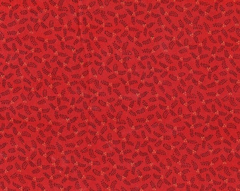 Christmas Quilt Fabric - Black Leaves Gold Berries on Red - SL Designs for Kona Bay Fabrics - BTHY
