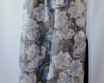 Natural silk shawl - floral, gray - pale violet hand painted scarf