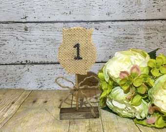 Burlap Table Numbers, Owl Table Numbers, Country Wedding Table Numbers