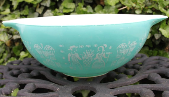 Pyrex 444 4 Qt Teal Turquoise Butterprint By Hammershollow
