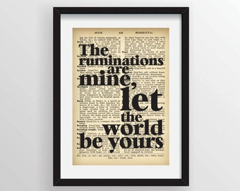 "Mark Z. Danielewski from House of Leaves- ""The ruminations are mine, let the world be yours."" - Recycled Vintage Dictionary Art Print"