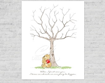 Modern Winnie The Pooh Watercolor FInger print Tree Guest Book