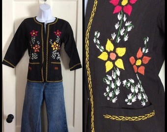 Vintage Deadstock 1960's Black Hand Embroidered Blouse looks size Small Flowers Handmade