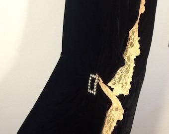 FREE  SHIPPING    1920's Silk Velvet Dress