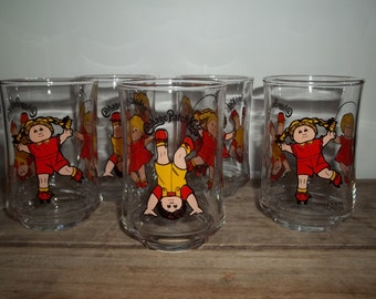 Cabbage Patch Kids Glasses, Vintage Glassware, Xavier Roberts, 1980's, Instant Collection, Kitchen Glasses, Juice Glasses