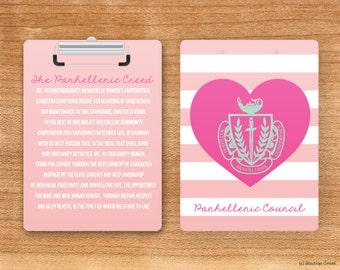 NPC Panhellenic Creed Crest Sorority Clipboard