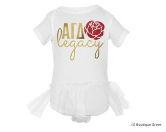 AGD Alpha Gamma Delta Legacy Custom Baby Outfit with Tutu