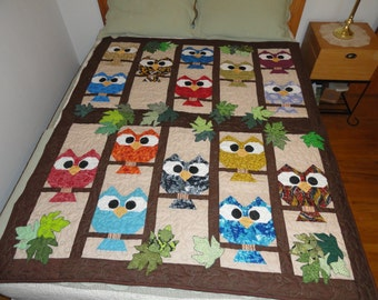 handmade appliquéd owls & leaves quilt, approx 57x66 in, cotton