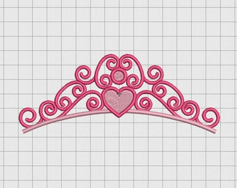 Tiara with Heart Princess Crown Fill Stitch Embroidery Design in 3x3 4x4 and 5x7 Sizes