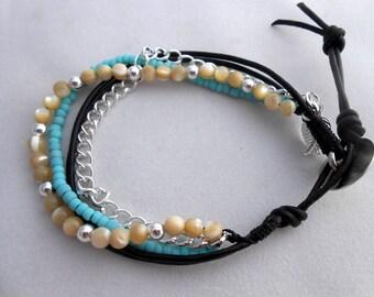 Wrap Bracelet, Multi Chain Bracelet, Beaded Bracelet, Leather Bracelet, Chain Bracelet, Boho Bracelet, Leather Wrap, Bohemian Jewelry