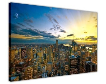 "Sunset Over New York City Canvas Prints Wall Art Pictures Home Decoration Framed Modern Art Size: 40"" X 30"" (101CM X 76CM)"
