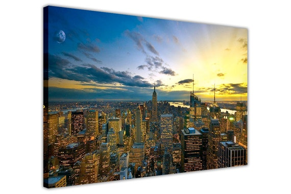 Canvas print of a sunset over New York City