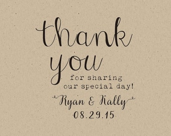 custom  Stamps-custom  thank you rubber stamp- thank you for sharing our special day! wedding favors personalized wedding favors-