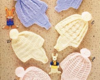 six designs baby hat bonnet vintage knitting pattern PDF instant download