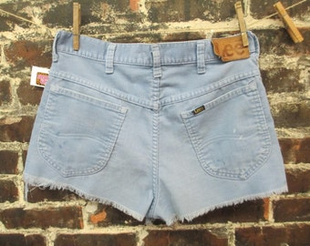 1970s Cut-Off Corduroy Shorts by Lee. Distressed/Paint Splatter. Size 32""