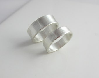 Argentium Sterling Silver Rings| Wedding Band Set| Matte Finish| Unisex| Recycled Silver| Eco Friendly Ethical
