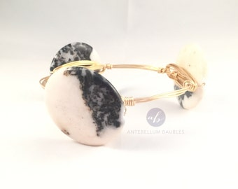 The Zebra Bauble || Flat round black & white zebra jasper bauble bracelet