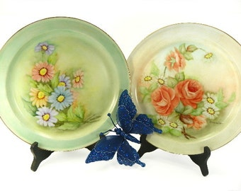 Vintage Hand Painted China Plates Springtime Daisies and Roses