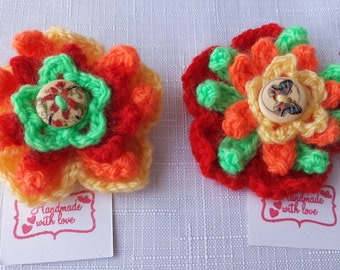 Crocheted Flower Brooch with Button Detail