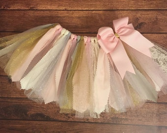 Light Pink, Ivory, Gold, Silver, and Grey Scrap Fabric Tutu