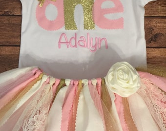 Light Pink, Ivory, and Gold 1st Birthday Scrap Fabric Tutu Outfit With Name Embroidery
