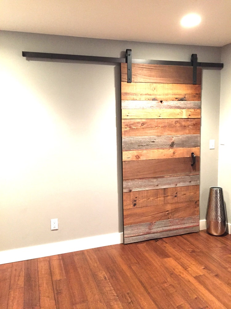 industrial classic sliding barn door closet by thewhiteshanty. Black Bedroom Furniture Sets. Home Design Ideas
