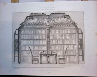 French Architectural Print, Bibliotheque Dans L'Hopital General A Reims, View 2