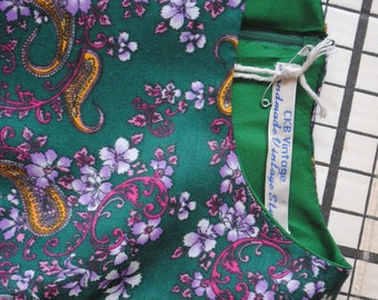 Green paisley handmade 1950s style swing dress size 8