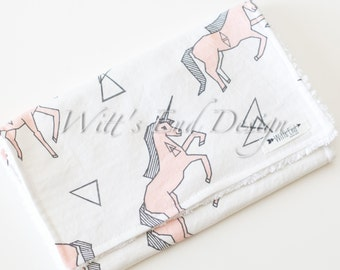 Unicorn Burp Cloth, Modern Baby Girl Burp Cloth-Mix & Match-Super Absorbent Chenille, Baby Shower Gift-PINK UNICORNS by Andrea Lauren-