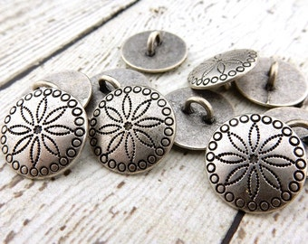 "TRIBAL FLOWER Metal Buttons 5/8"" Antique Silver, Concho Button, Qty 4 to 24, Jewelry Findings, Concha Native American Style Buttons, 15mm"