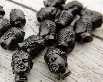 BUDDHA BEADS Tierracast, 14mm Black Oxide, Qty 4, Large Hole Beads, Gunmetal Gray, for Yoga Zen Leather Wrap Jewelry